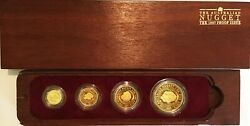 The 1987 Australian Nugget - Four Proof Gold Coins Set 1.85 Oz + Box And Coa