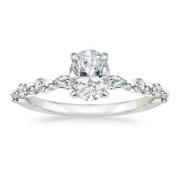 Solide 14k Or Blanc 1.15 Ct Coupe Ovale Real Diamond Engagement Ring Taille 5 6
