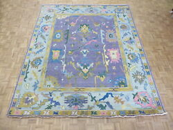 9'10 X 12 Hand Knotted Purple Colorful Turkish Oushak Oriental Rug G10671