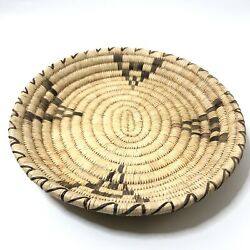 Woven Coiled Straw Fanner Basket Two Tone Oblong 14 X 12 3/4