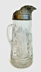 Antique Large 11 Late 1800s Victorian Blown Pressed Glass And Pewter Pitcher