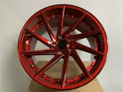 Four 19 Staggered Candy Red Swirl Style Rims Wheels 5x114.3 35 Offset