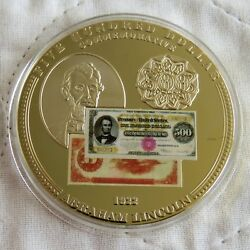 Usa 500 Abraham Lincoln 1922 Banknote 50mm Gold Plated Proof Medal