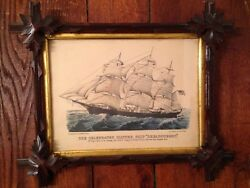 Original Currier And Ives Type Print ' Dreadnought' Antique Adirondack Frame
