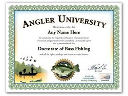 Bass Fishing Personalized Certificate Diploma - Rod Lure Fisherman Angler Gift
