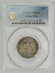 1842-o Seated Liberty Quarter 25c Large Date Ms62 Secure Pcgs 943791-5