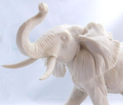 Alabaster Elephant Signed A Belcari Dear 1988 By A Master Sculptor In Italy