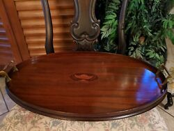 Antique English Edwardian Inlaid Mahogany And Brass Butlerand039s Table Serving Tray