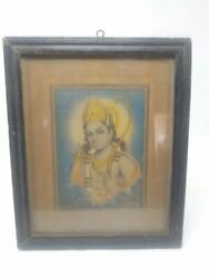 Collectible Religious Lithograph Print Hindu God Rama Portrait Framed 11 X 9