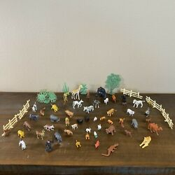 Vintage Small Plastic Mixed Lot Of Toy Animals Farm Zoo Wild Jungle Hong Kong