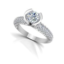 0.87 Ct Round Cut Real Diamond Wedding Rings For Her 14k White Gold Size 5 6 7 8