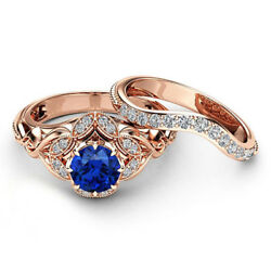 Solid 14k Rose Gold Band Natural Diamond 2.2 Ct Blue Sapphire Gemstone Ring Sets