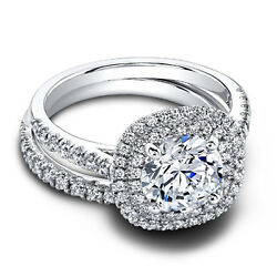1.10 Ct Real Diamond Wedding Engagement Ring Set Solid 14k White Gold Band Sets