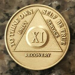 11 Year Aa Medallion Alcoholics Anonymous Sobriety Chip Xi Years Bronze Coin