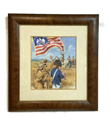 Dennis Lyall Oil Canvas Painting Native American Indian Peace Flag 24 X 22