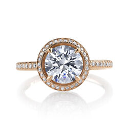1.20 Ct Superbe Coupe Ronde Real Diamond Engagement Ring 14k Or Rose Taille M L-