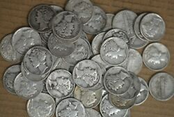 1940-p - 1945-p Mercury Silver Dimes Roll Of 50 - Great Value - M-2967