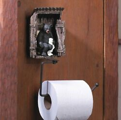 Outhouse Lodge Black Bear Bathroom Decor Toilet Paper Holder Tp Roll Statue