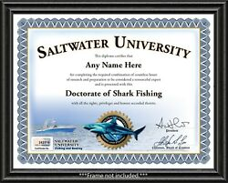 Saltwater Shark Fishing Personalized Certificate Diploma - Boat Lure Gear - Gift