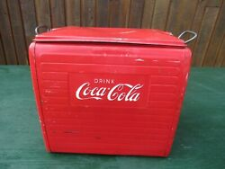 Vintage Great 1950s Red Drink Coca Cola Cooler Chest With Lid Drink Soda