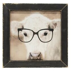 New Shabby Farmhouse Chic Country White Cow Glasses Picture Wall Hanging