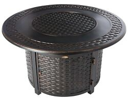 Gas Fire Pit Table Outdoor Patio Backyard Heater Round Propane Fire Pit With Lid