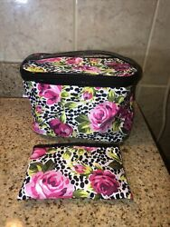 Modella Cosmetic Organizer quot;The Weekenderquot; amp; Matching Cosmetic Bag Rose Print $20.00