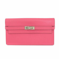 Hermes  Long Wallet With Coin Pocket Kelly Classic Wallet Rose Azare Epsom
