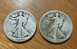 1918-s And 1918 D Walking Liberty Silver Half Dollars Collector Coins