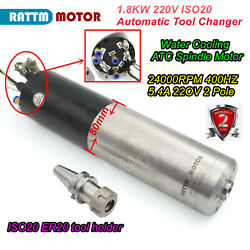 1.8kw Iso20 Automatic Tool Changer Atc Spindle Water Cooled Milling Motor 220v