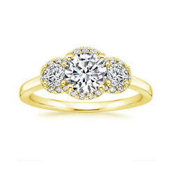 0.70 Ct Round Real Diamond Engagement Ring Solid 18k Yellow Gold Size 5 6 7.5 8
