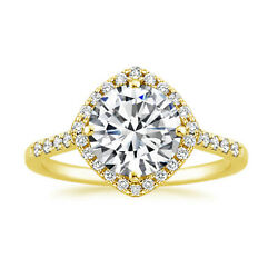 0.60 Ct Round Real Diamond Engagement Ring Solid 18k Yellow Gold Size 5.5 7 8 9