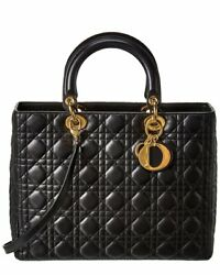 Dior Black Lambskin Leather Large Lady Dior Womenand039s