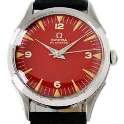 Omega 1947s Seamaster Automatic Red Dial Bumper Men's Vintage Wrist Watch 2438-8