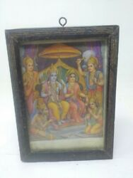 Collectible Religious Lithograph Print Of Hindu Lord Rama Darbar Framed 7.5 X 5