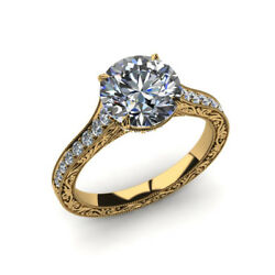 0.75 Ct Round Cut Real Diamond Wedding Rings 14k Solid Yellow Gold Size 5 6 7 8