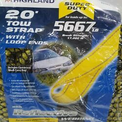 Highland 10183 20 Foot Recovery Tow Strap With Loop Ends Up To 5667 Lb. New