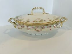 """Vintage Coronet Limoges France China Pink Floral Soup Tureen With Lid 14"""""""