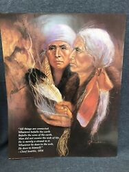 Vtg Native American Poster Art Print Signed Wall Art Print Smudging 16andrdquox20andrdquo Nos
