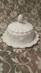 Westmoreland Milk Glass Paneled Grape Leaf Covered Round Cheese Butter Dish