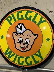 Piggly Wiggly Store Sales Advertising Porcelain Gas Sign