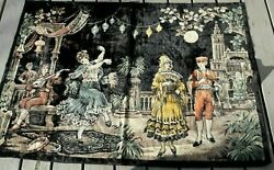 """Vintage Tapestry Wall Hanging Large Baile Flamenco Plaza Dancers Scene 52""""x18"""""""