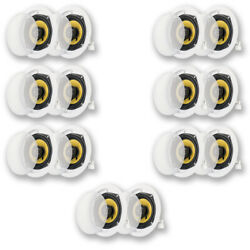 Acoustic Audio Hd-5 Flush Mount In Ceiling Speakers Home Theater 7 Pair Pack