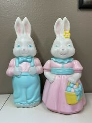 """Vintage Empire Blow Mold Mr. Easter Bunny Mrs. Easter Bunny 26"""" Works"""