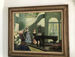 Antique Oil On Canvas Music Room Parlor Scene Painting