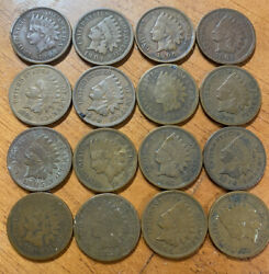 Lot Of 16 Indian Heads Cents - 1888 Key Date Plus Others Same Coins In Pic.