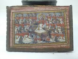 Collectible Old Miniature Painting Of Indian King On Horse Ride Framed 3 X 5