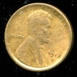 1917 S Wheat Penny Key Date Us Circulated One Lincoln Rare 1 Cent U.s Coin 1292