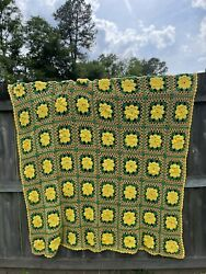 Vintage Crochet Knitted Afghan Blanket Granny Squares 64 X 72andrdquo Yellow Green