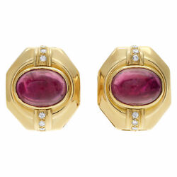Etruscan Revival Clip On With Post 18k Yellow Gold Earrings With Oval...
